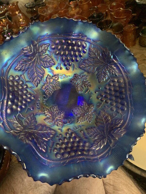 SCARCE Stunning Northwood BLUE Grape and Cable Large Ruffled Bowl w BW Back!!!!!
