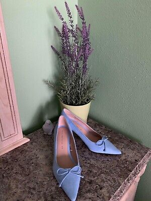Women Shoes Size 7M Darcy Peep Toe Stiletto Heel Pumps Suede Baby Blue