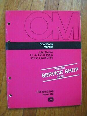 John Deere Ll-a Lz-b Pd-a Grain Drill Operators Manual Original