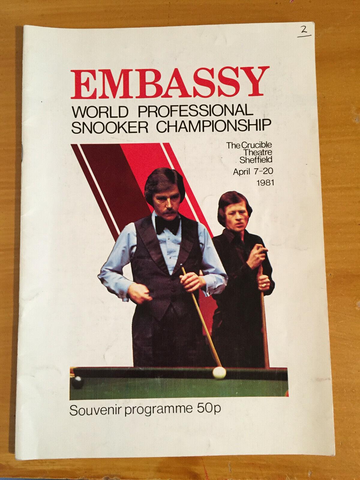 1981 Signed x 9 Embassy World Professional Snooker Championship Programme vgc