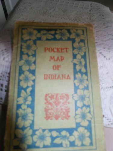 1902 Pocket Map of Indiana by Kenyon Printing Co - Advertising/Promo Insurance
