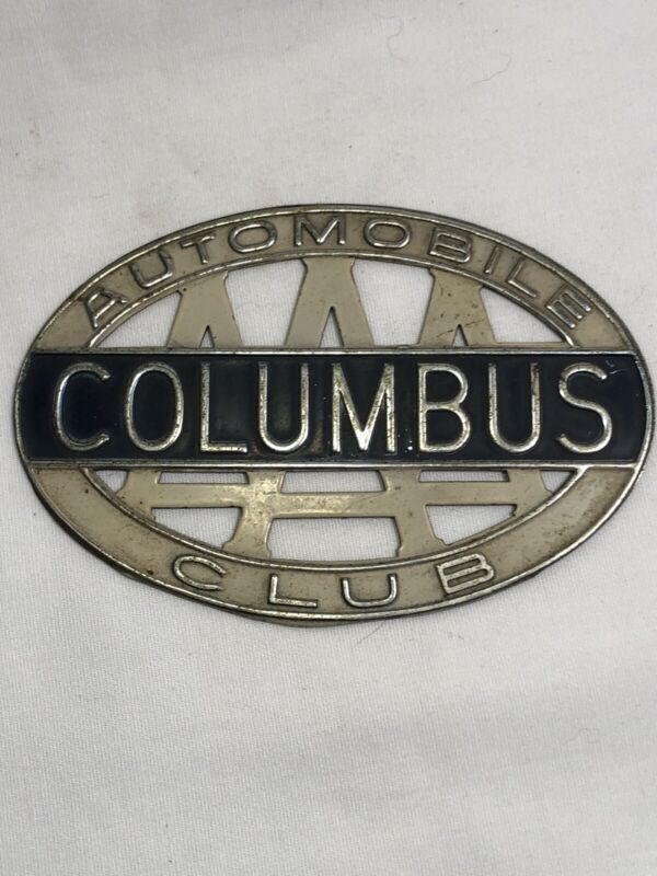 1950s  AAA AUTOMOBILE CLUB COLUMBUS METAL PLAQUE