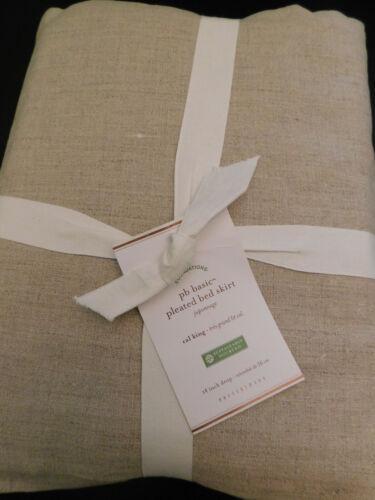 "NEW Pottery Barn Basic Pleated Bedskirt CALIFORNIA KING 14"" Drop NATURAL LINEN"