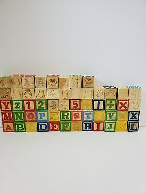 Lot of 56 Wood Blocks Alphabet and Number Building Wooden Stacking Toys