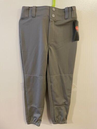 Rawlings Youth Boys Gray Buttoned Baseball Pants Elastic Bottoms Medium M New