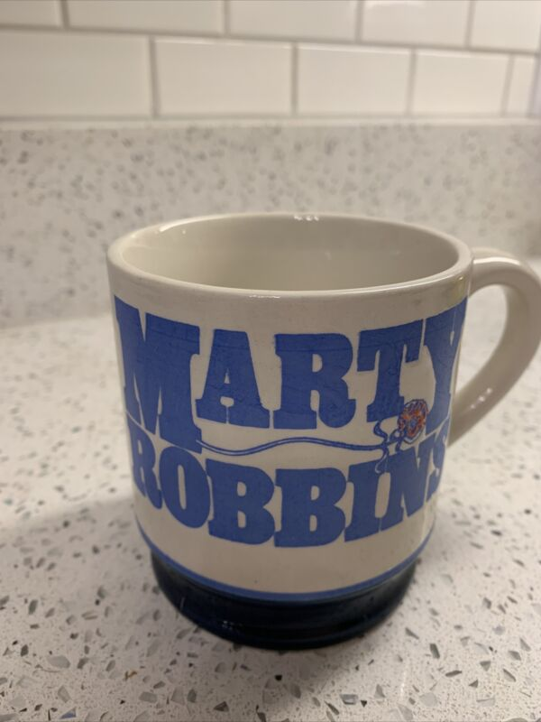 Vintage Marty Robbins Coffee Mug Cup -White With Blue Lettering And Rose