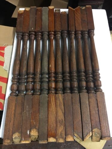 "Lot of 12 c1890 oak turned staircase spindle balusters old varnish 22/23"" x 1"""