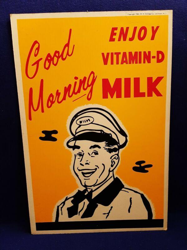 "Vtg 1960 Vitamin-D Milk Lithograph Cardboard Poster Advertisement 14 x 21"" ORIG"