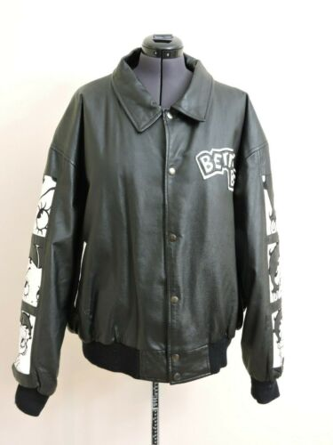Vintage Betty Boop Black Leather Jacket Unisex Size 3XL Excellent Condition