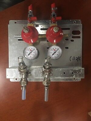 Micro Matic Wall Mount 2 Tap Regulator Panel Beer Keg Co2 60 Psi
