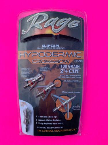 """Rage Crossbow Hypodermic Broadheads 100 Grain 2"""" Cut Slipcam Rear Deploy"""