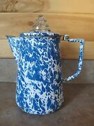 Blue Enamelware Coffee Pot