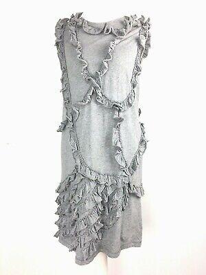 Karen Walker Grey Marl Jersey T Shirt Frilled Ruffle Short Dress UK 6 US 2