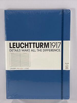 Leuchtturm1917 - Master Slim A4 Ruled Hardcover Notebook Nordic Blue Journal
