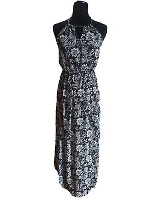 Abercrombie & Fitch Black And White Maxi Halter Dress Size L