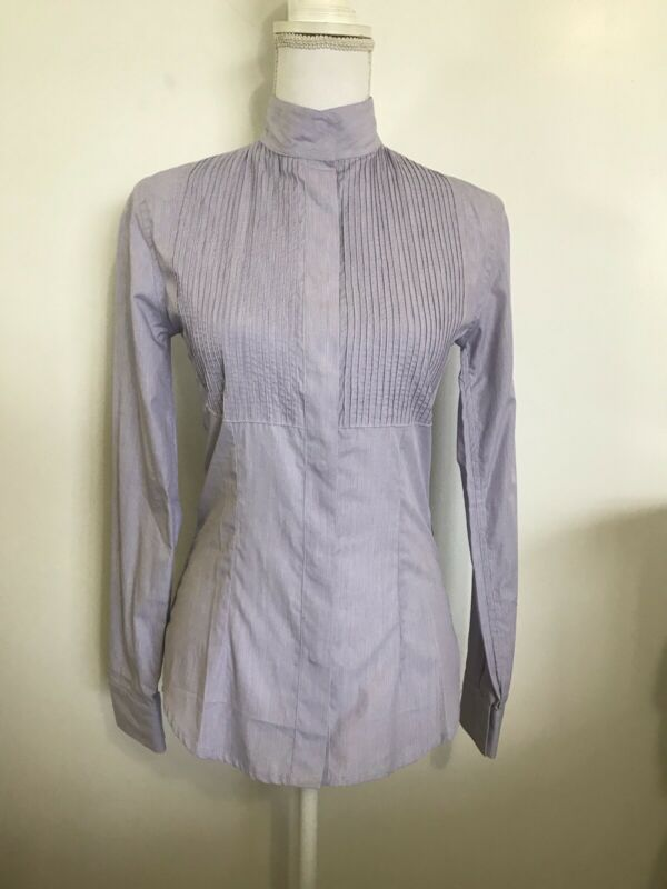 ALESSANDRO ALBANESE Lavender Show Shirt Pleated XS Snap Collar Ratcatcher NWOT