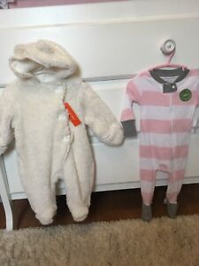 2 outfit lot/ baby girls cozy snowsuit & organic sleeper