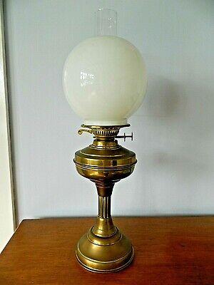 Beautiful Victorian Duplex Twin Burner Brass Oil Lamp White Milk Glass Shade