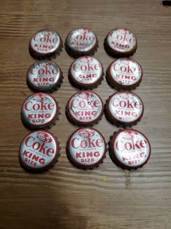 Vintage King Size Coke Bottle Caps, Lot of 12