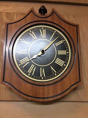Vintage Sunbeam Clock Quartz 81-379 70s Battery Operated Plastic Wood Grain