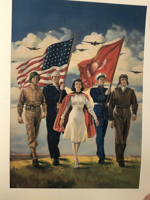 Freedom Forever World War 2 Litograph Poster
