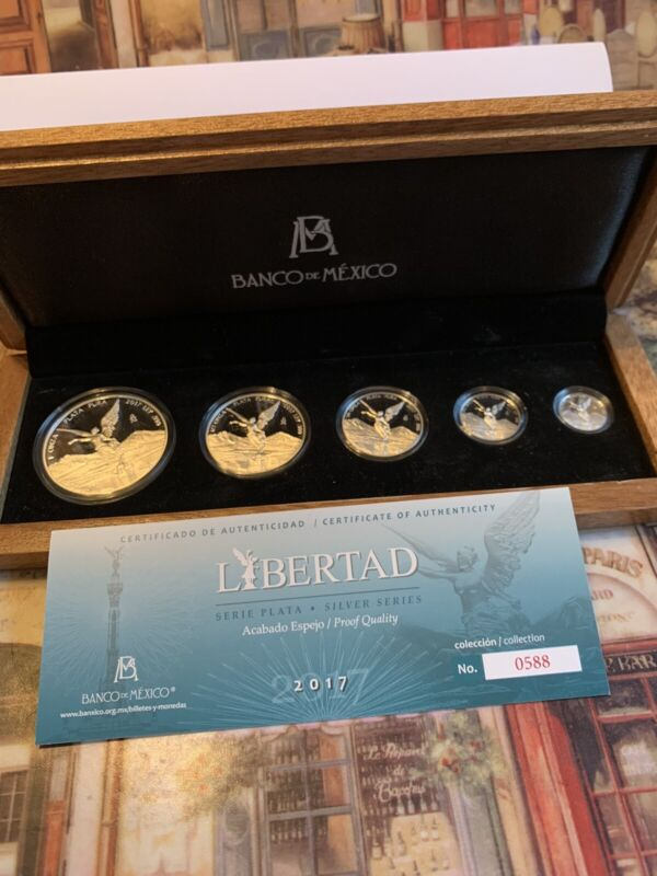 2017 MEXICO 5COIN SILVER LIBERTAD ORIGINAL PROOF SET BEAUTIFUL(ONLY 1000 MINTED)