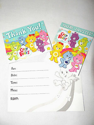 BABY CARE BEARS 8 -PAPER INVITATIONS & THANK YOU NOTES  BITHDAY-CHILD    PARTY - Bithday Party