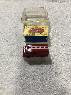 Vintage Lesney Matchbox 57 Land Rover Fire Truck Regular Wheels Near Mint/ Box