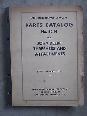 John Deere Threshers & Attachment parts Catalog Manual  62-H