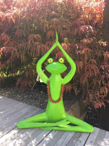 Frosch Yoga Handarbeit Metall Skulptur Gartendeko Gartenfigur Teich Pool Sonne o