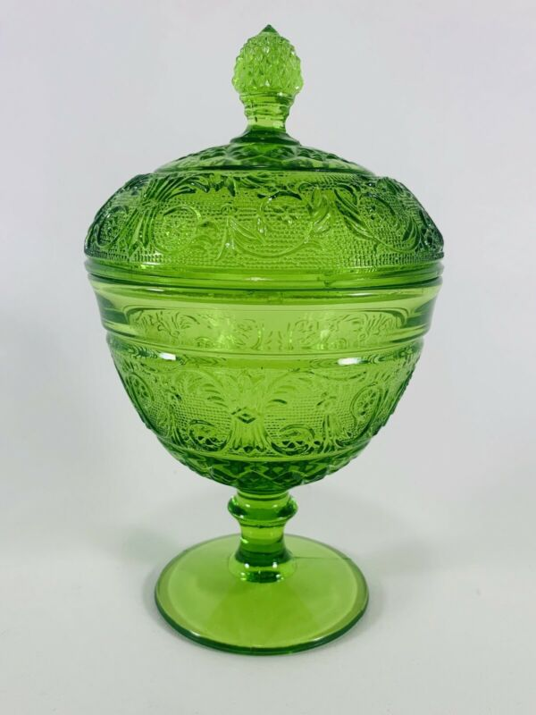 Duncan & Miller Indiana Glass Green Sandwich Ftd Candy Dish Compote & Cover VTG
