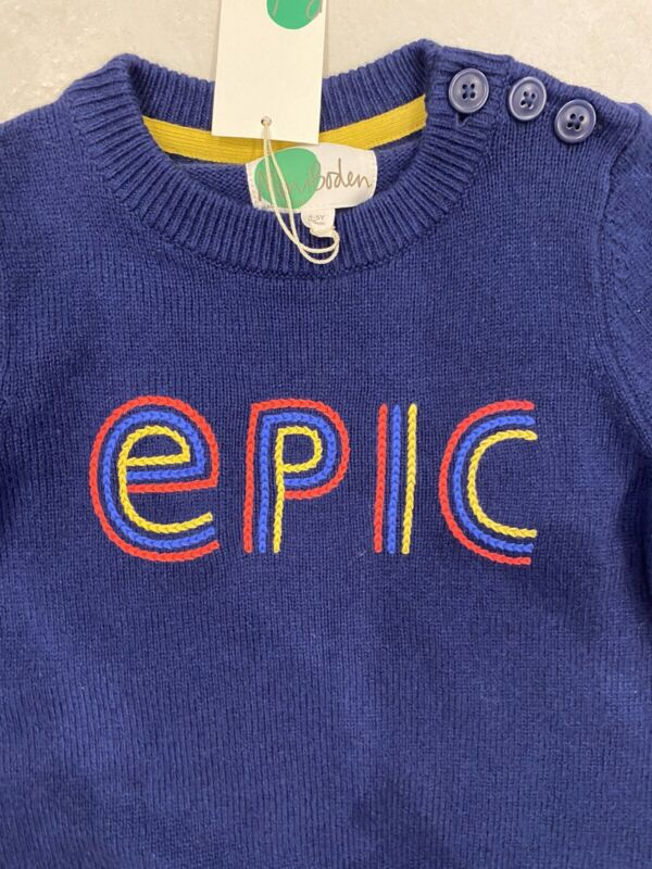 NWT Mini Boden Boys EPIC Navy Blue Sweater Size 4 5