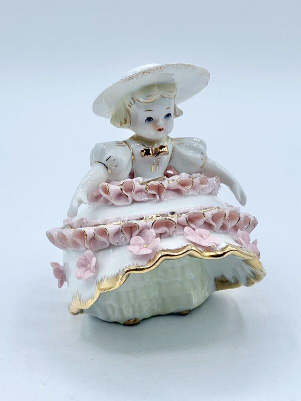 Vintage Lefton Pink Bloomer Girl Porcelain KW1412 Signed Geo Z Lefton