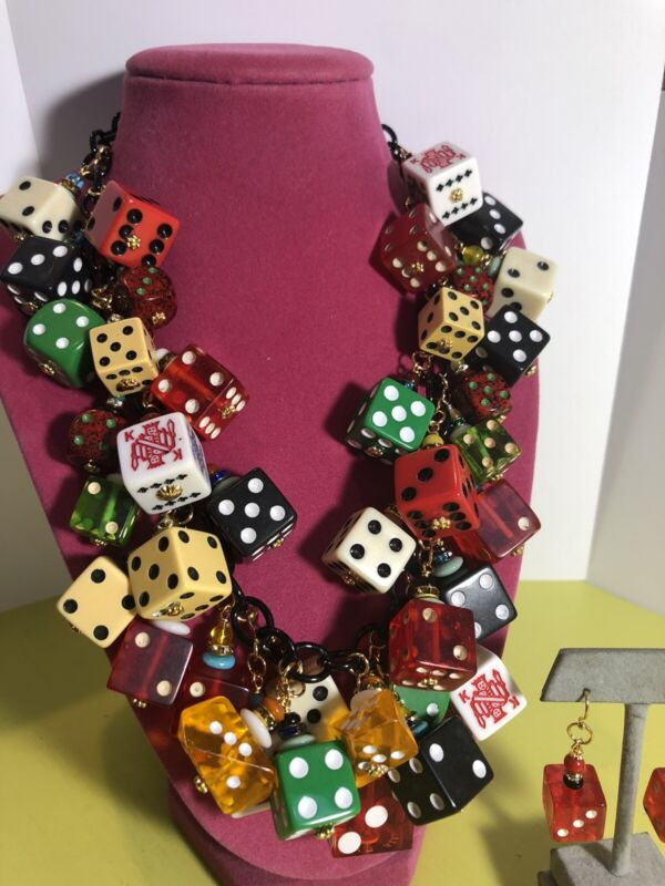 VINTAGE BAKELITE and PLASTIC DICE Dangle Necklace & Earrings