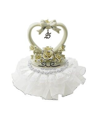 25th Anniversary Cake Top with Heart Decorated in Silver and White 7