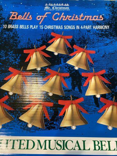 Vintage MR CHRISTMAS BELLS of CHRISTMAS~1991 Musical 10 Lighted Brass~15 Carols