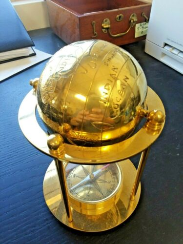 GOLD GLOBE COMPASS COMBO - 8 INCH TALL - 5.5 INCH DIAMETER -VERY COOL
