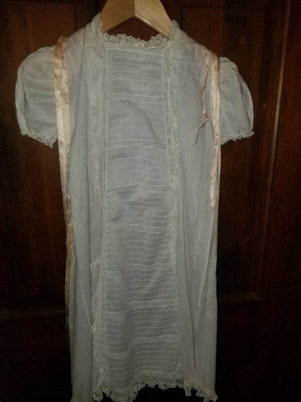 "ANTIQUE LACE TUCKED CHRISTENING DRESS 28"" LONG 15"" ACROSS UNDER ARMS"