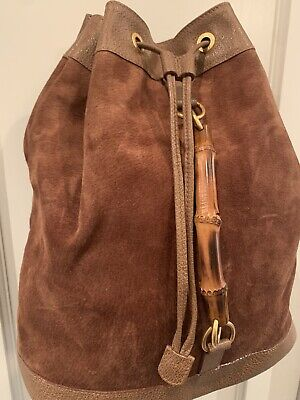 Auth GUCCI Bamboo Handle Backpack / Bag Brown Suede Leather Vintage 70s