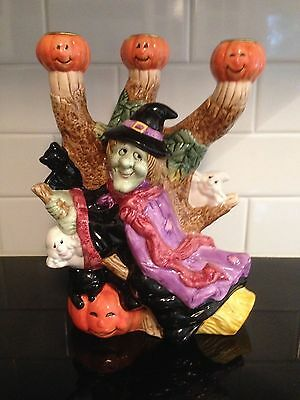 Fun Fitz and Floyd Halloween Harvest Witch 3-Taper Candlestick Holder](Fitz And Floyd Halloween Harvest)