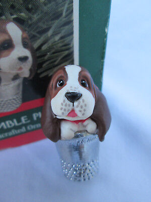 Hallmark THIMBLE PUPPY 1989 Christmas Tree Ornament 12th in Series