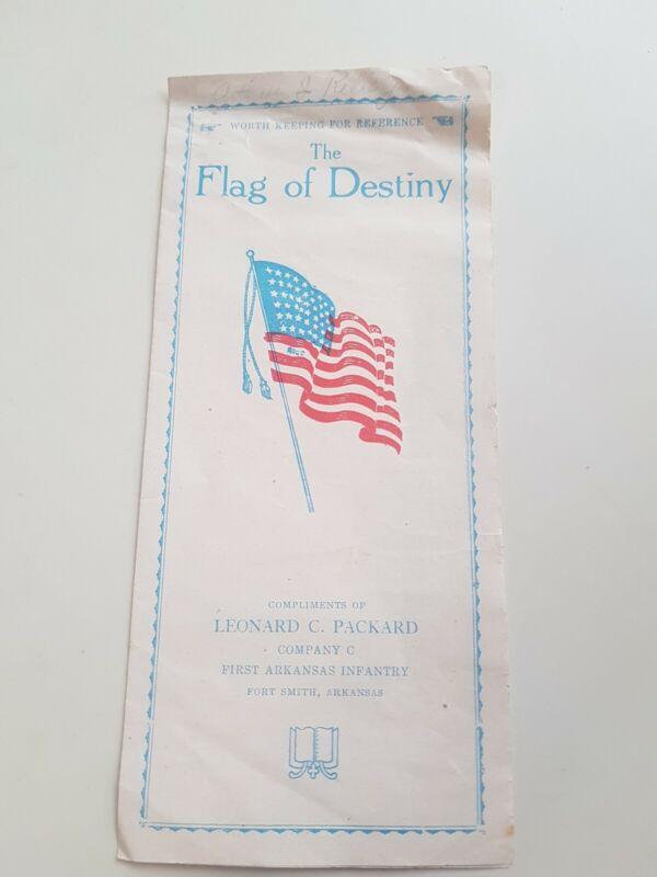 The Flag of Destiny Leonard C Packard company 1st Arkansas infantry Pamphlet