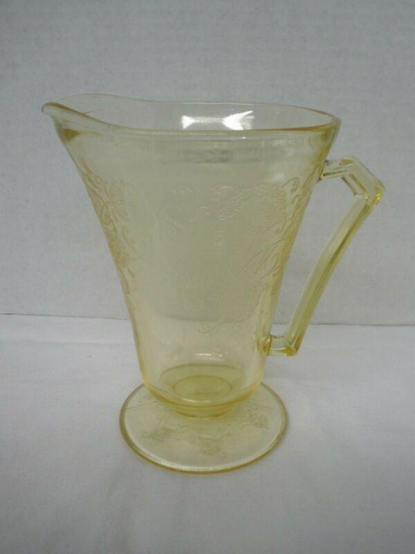 Vintage Depression Glass HAZEL ATLAS Footed Pitcher Florentine Poppy #2 Yellow