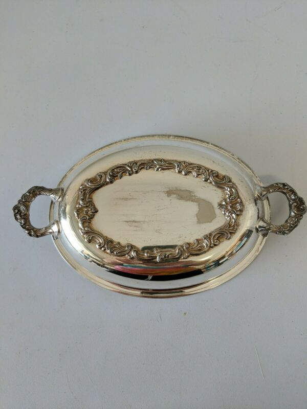 """Vintage Silver plated Lid for 9"""" dish - Swirl Design on handles and edges"""