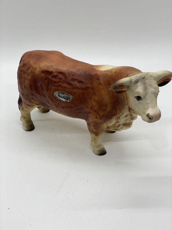 Vintage Brown And White Matt Finish Hereford Bull Figurine #750