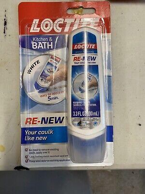 New White Loctite Kitchen Bath Re-new Caulk 3.3 Oz Tube Silicone Sealant Tube