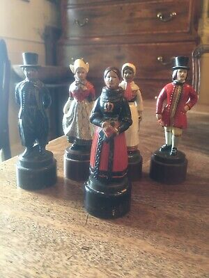 5 Antique Danish Metal Folk Figures By Just Jensen Cold Painted on Wood Plinths