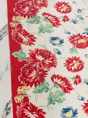 1930's-1940's Cotton Kitchen Tea Towel Large Red Blue Flowers CHERRIES Farmhouse