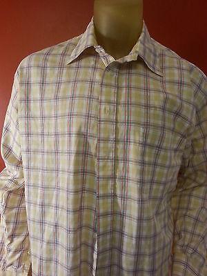 BURBERRY LONDON MENS Button Front Long Sleeve Shirt Large multi color