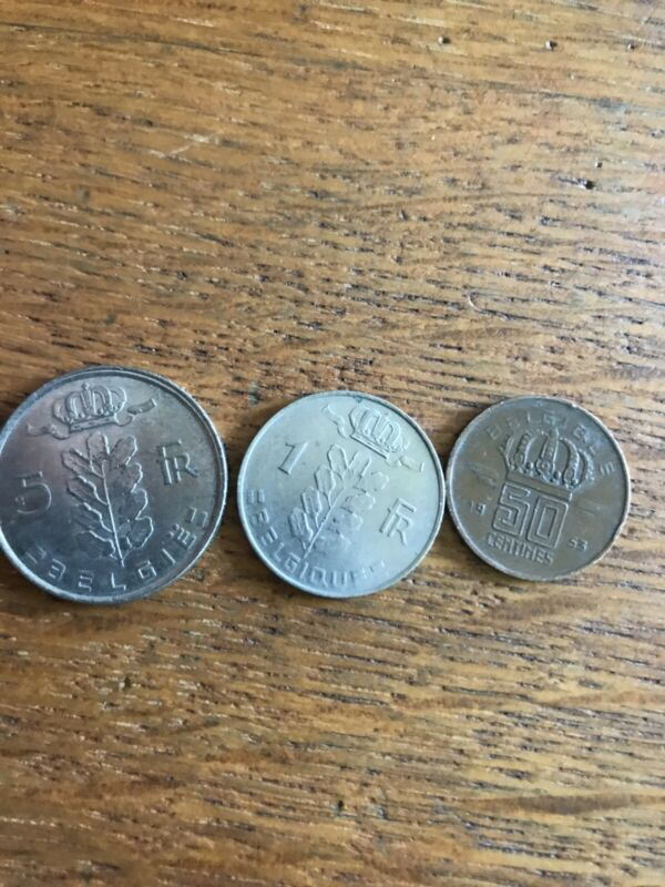 3 Coins Belgium 5 Francs, 1 Franc, 50 Centimes Circulated